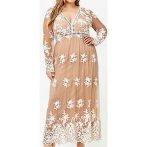 Nude Embroidered lace maxi dress 3x